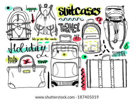 Vector black and white set with bags for travel, text - stock vector