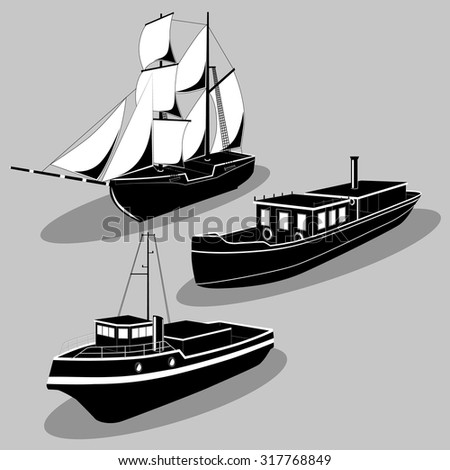 Vector black and white Ships image design set for your illustration, postcards, poster, labels, stickers and other design needs. - stock vector