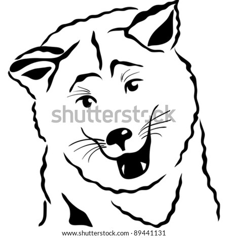 vector black and white sketch closeup portrait of a Akita Inu Japanese Dog breed