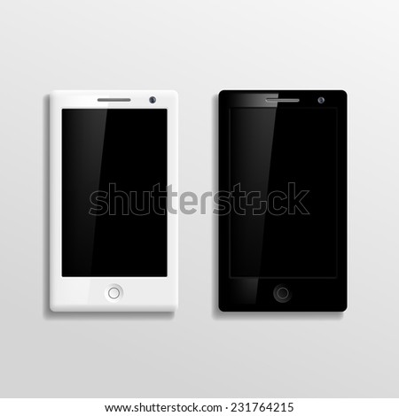 Vector black and white smartphones - stock vector
