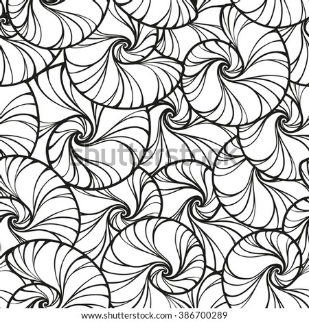 Vector black and white snails shells seamless pattern.  - stock vector
