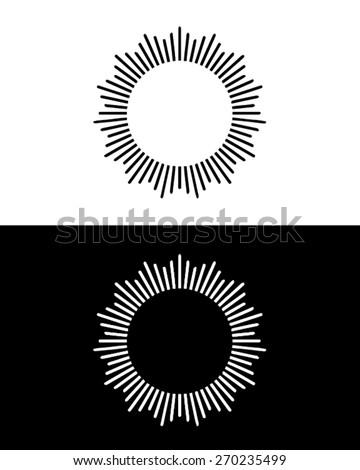 Vector black and white sun ray set - stock vector