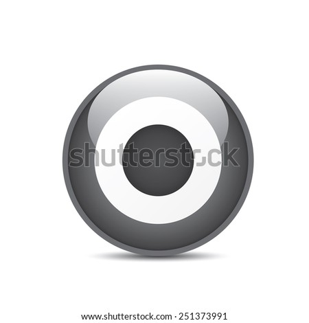 vector black and white target icon. vector glossy target symbol design element - stock vector