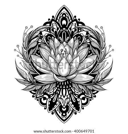 Vector Black and White Tattoo Lotus Illustration