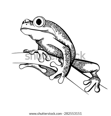 Vector Black and White Tattoo Ornate Frog Illustration