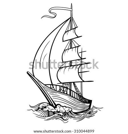Vector Black and White Tattoo Ship on Sea Illustration - stock vector