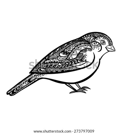Vector Black and White Tattoo Sparrow Illustration - stock vector