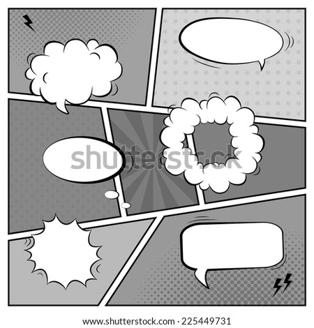 Vector black and white template of retro comic book page with various speech bubbles, rays, stars, dots, halftone background - stock vector