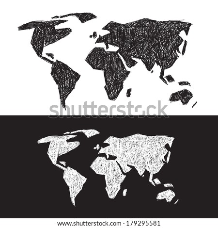 Vector Black and White World Map Illustration Set - stock vector