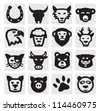 vector black animals icons set on gray - stock vector