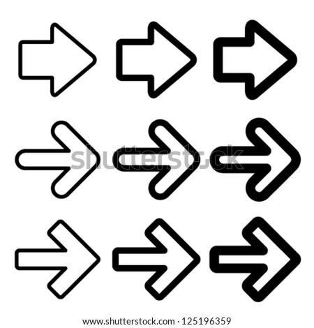 Vector black arrow silhouettes - stock vector
