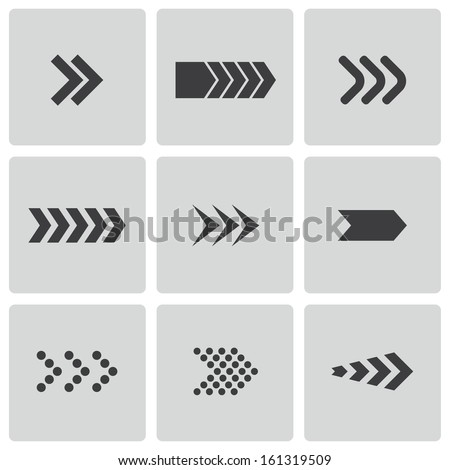 Vector black arrows icons set - stock vector