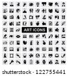vector black art icons set on gray - stock photo