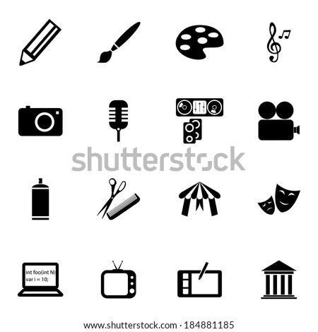 Vector black art icons set on white background - stock vector