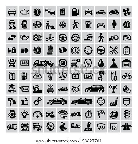 vector black auto icons set on gray - stock vector
