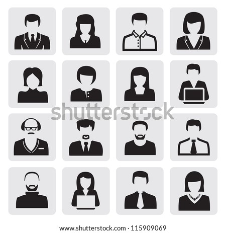 vector black avatar icons set on gray - stock vector