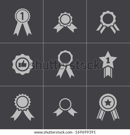 Vector black award medal icons set on gray background - stock vector