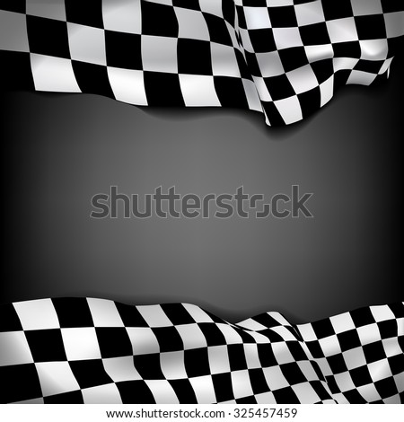 Vector black background with checkered flag and space for your text inside - stock vector