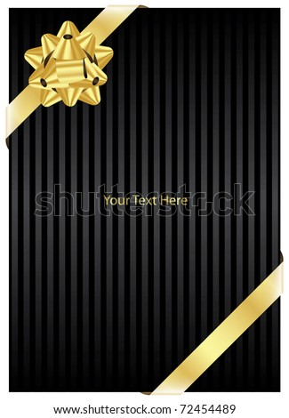 Vector black background with gold bow - stock vector
