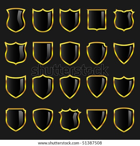 Vector black badges or shields with gold borders suitable for use in heraldry or design layouts. JPG and TIFF image versions of this vector illustration are also available in my portfolio.
