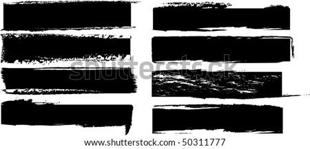 vector black banners set - stock vector