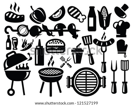vector black barbecue icons set on gray - stock vector