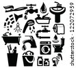 vector black bathroom accessories icons set on white - stock vector