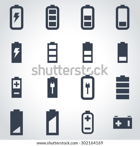 Vector black battery icon set. Battery Icon Object, Battery Icon Picture, Battery Icon Image, Battery Icon Graphic, Battery Icon JPG, Battery Icon EPS, Battery Icon AI - stock vector - stock vector