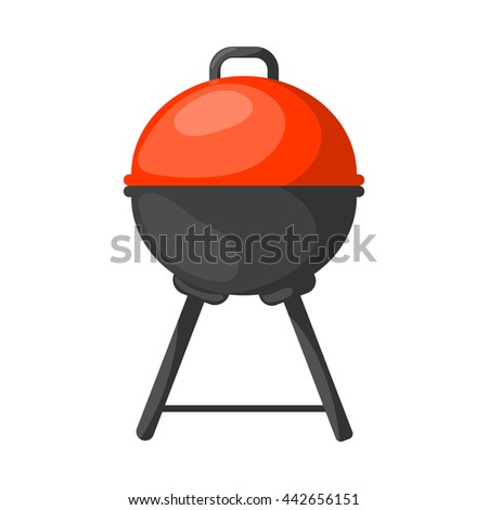 Vector black BBQ Grill icon. Vector illustration