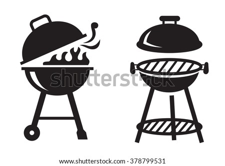 vector black BBQ Grill icons on white background - stock vector