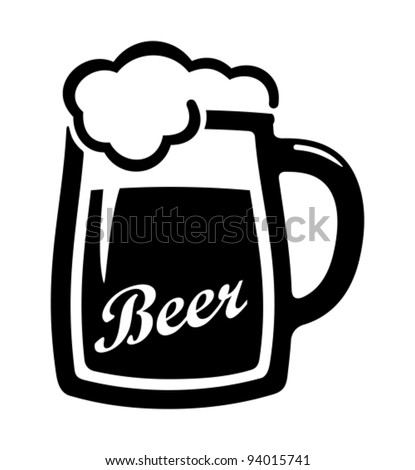 Vector black beer icon. - stock vector