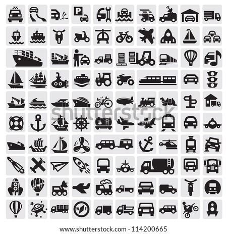 vector black big transportation icon set on gray - stock vector