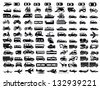 vector black big transportation icon set on white - stock