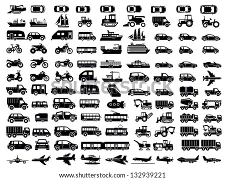 vector black big transportation icon set on white - stock vector