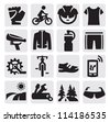 vector black biking icons set on gray - stock vector
