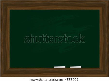 Vector - Black board in a wooden frame with two pieces of chalk. Copy space.