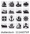 vector black boat and ship icons set - stock photo