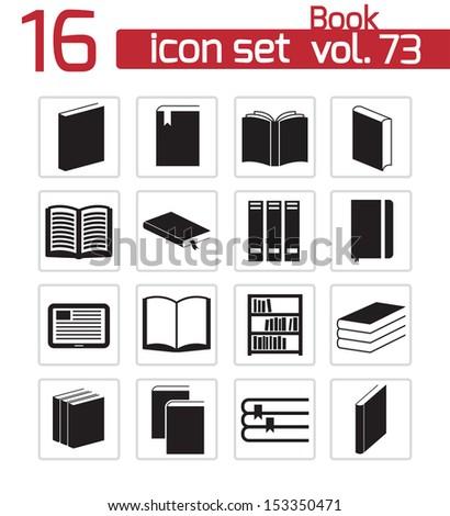 Vector black  book  icons set - stock vector