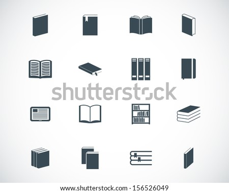 Vector black  book  icons set - stock vector