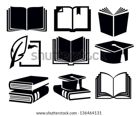 vector black book icons set on white - stock vector