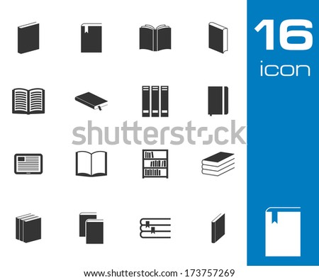 Vector black  book  icons set on white background - stock vector