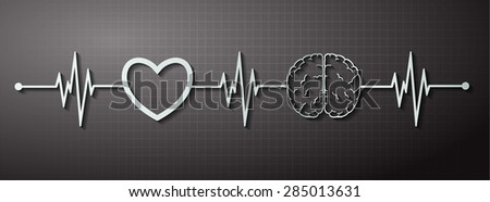 vector black brain processes technology, creative idea concept. wave. ECG, EKG, electrocardiogram. pulse heart - stock vector