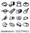 vector black bread icon set on white - stock