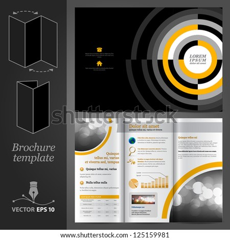 Vector black brochure template design with round elements. EPS 10 - stock vector