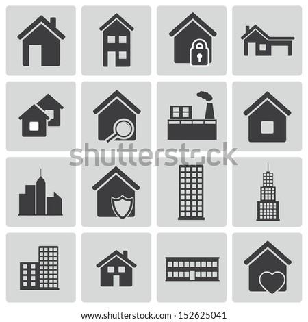 Vector black building icons set - stock vector