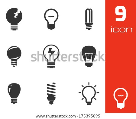 Vector black bulbs icons set on white background - stock vector