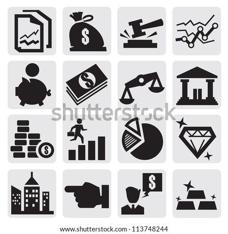 vector black business and finance icons set on gray
