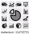 vector black business chart icons set on gray - stock vector