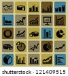 vector black business graph icons set on color - stock vector