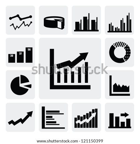vector black business graph icons set on gray - stock vector